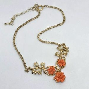🆕Vintage Gold and Peachy Rose Necklace